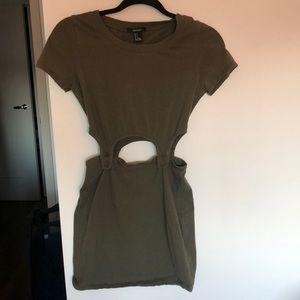 Army Green Cut-out/ T-shirt Dress